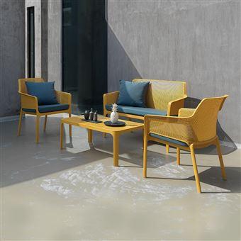Salon de jardin polypropylène design net jaune nardi - Mobilier de ...