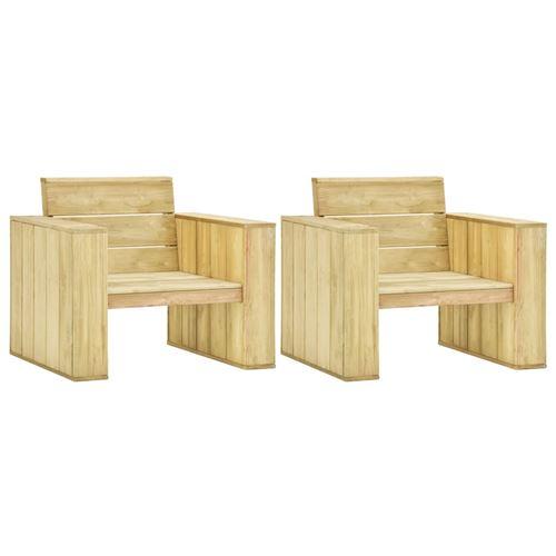 Chaises de jardin 2 pcs 89x76x76 cm Bois de pin imprégné