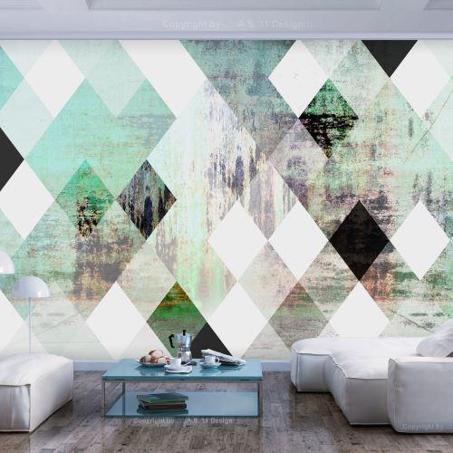 150x105 Papier peint Géométrique Fonds et Dessins Moderne Rhombic Chessboard (Green)