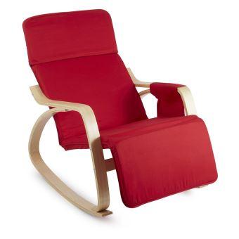 oneconcept beutlin fauteuil relax bascule 68x90x97cm bois de bouleau rouge achat prix fnac. Black Bedroom Furniture Sets. Home Design Ideas