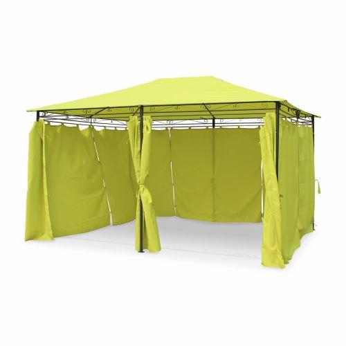 Tonnelle 3 x 4 m - Nicae - Toile verte - Pergola avec rideaux, tente ...