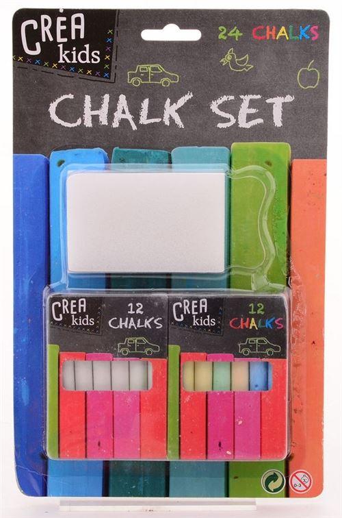Johntoy Crea Kids crayons de tableau noir avec pinceau 24 pièces