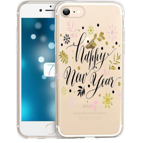 Coque Iphone 6 6S happy new year bonne annee fleur or flocon rose