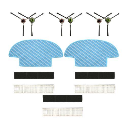 Filtre De Groupe , Paire Side Brush , Vadrouille Pour Balayeuses Ecovacs Slim 2 Blanc W131
