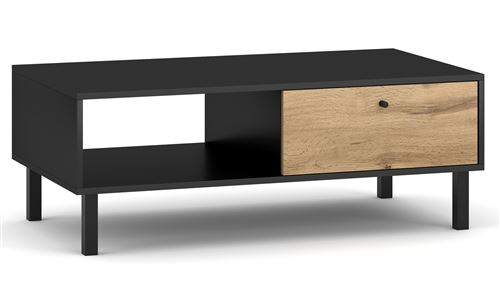 Table basse avec rangements en bois coloris noir mat / chêne wotan - L.110 x P.60 x H.40 cm -PEGANE-