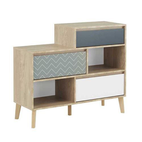 Commode 3 tiroirs 2 niches Chêne blond/Bleu/Blanc - ESMEY