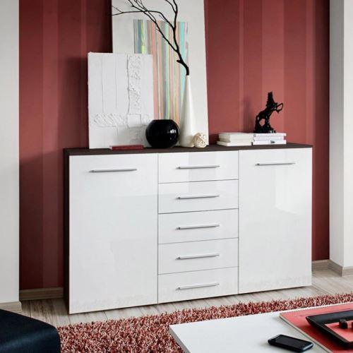 Paris prix - buffet 2 portes design 'fox' 150cm blanc & wengé