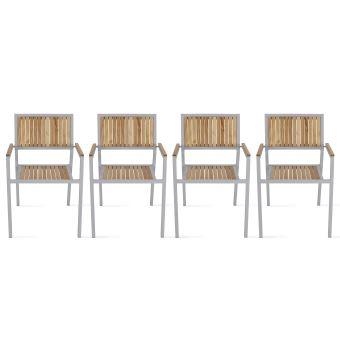 Table de jardin carrée 4 places en bois et aluminium ...