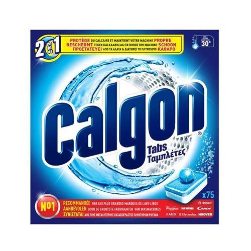 CALGON S39 Paquet de 75 tablettes anti-calcaire pour lave-linge - Tabs 2 en 1