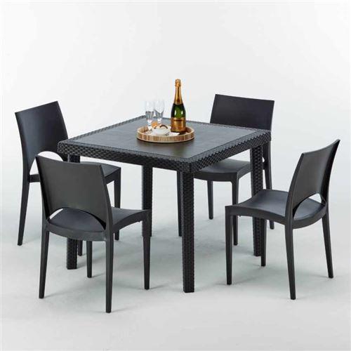 Table Carrée Noire 90x90cm Avec 4 Chaises Colorées Grand Soleil Set Extérieur Bar Café PARIS PASSION, Couleur: Noir