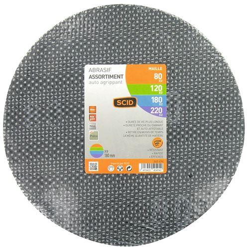Disque maille auto-agrippant diamètre 180 mm SCID - Grain 80, 100, 180, 220 - Vendu par 8