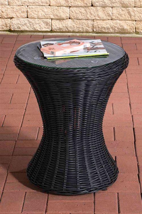 Table en polyrotin et plateau de verre Sandino , Noir