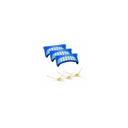 Pack 3 filtres aerovac et 3 brosses laterales pour aspirateur irobot - f232393
