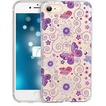 Coque Iphone 6 6S papillon multi violet transparent