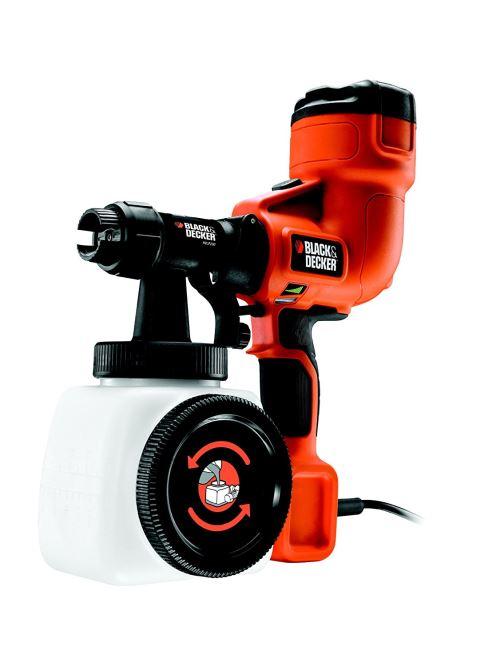BLACK+DECKER HVLP200 Pistolet à peinture basse pression 400W - Débit : 120g/min - Viscosité max : 120 DIN/sec - Contenance du godet : 1,2 L - Buse crantée - Orientation du jet facilitée - Indicateur de niveau