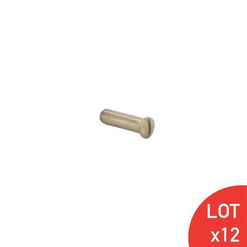 Douille tête fraisée bombée vis reliure M4x15 fendue laiton poli x12