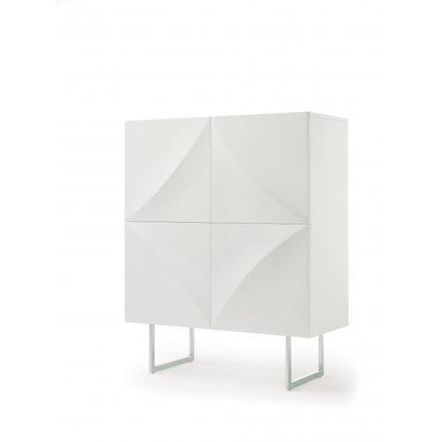 Buffet haut 4 portes en bois laqué blanc relief 3D PAULIN