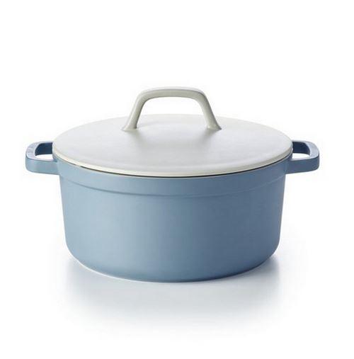 cocotte ronde en fonte d'aluminium 28cm bleu - 15031284