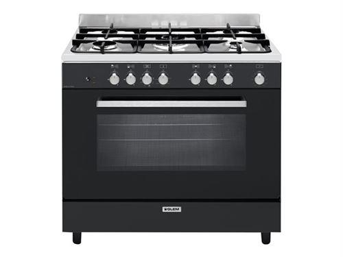 Glem GE960CVBK2 - Cuisinière - pose libre - largeur : 90 cm - profondeur : 60 cm - hauteur : 91 cm - avec système auto-nettoyant - noir/inox