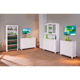 15 sur etag re biblioth que meuble de rangement salon s jour salle manger bois blanc achat. Black Bedroom Furniture Sets. Home Design Ideas