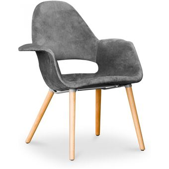 Myfaktory organic style gris foncé Chaise scandinave design tissu Ybyf67g