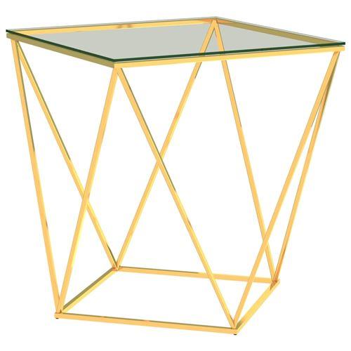 Table basse 50x50x55cm Acier inoxydable Doré et transparent