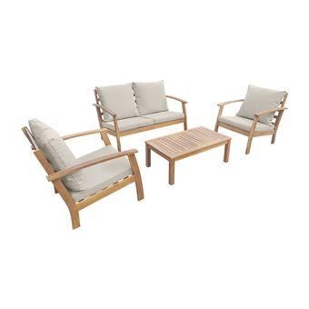 Salon de jardin en bois 4 places - Ushuaïa - Coussins Ecrus, canapé ...