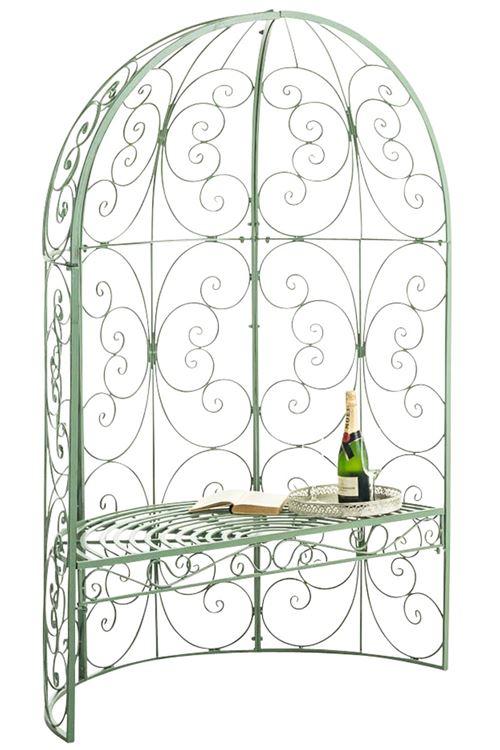 Arche à rosier Rosie en forme de demi pavillon avec banc de jardin , Vert antique