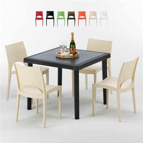 Table Carrée Noire 90x90cm Avec 4 Chaises Colorées Grand Soleil Set Extérieur Bar Café PARIS PASSION, Couleur: Beige