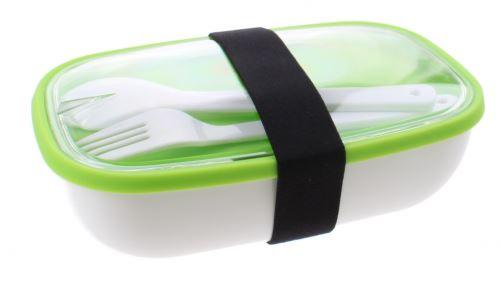 boîte à lunch My Bento avec des couverts 17,5 cm blanc / vert
