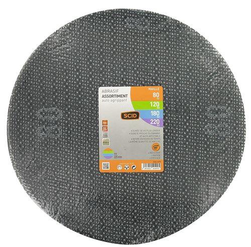 Disque maille auto-agrippant diamètre 225 mm SCID - Grain 80, 100, 180, 220 - Vendu par 8