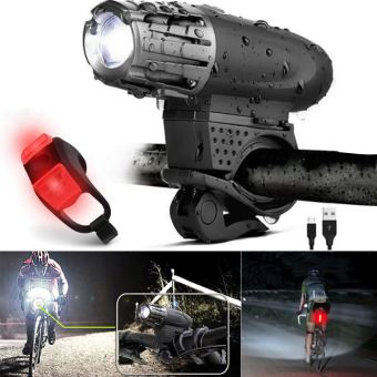 USB Rechargeable LED Vélo Vélo Avant Arrière Lumière Set Phare Feu Arrière Lampe