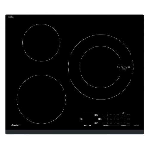 Sauter SPI4362B - Table de cuisson à induction - 3 plaques de cuisson - Niche - largeur : 56 cm - profondeur : 49 cm - avec garniture avant en acier inoxydable - noir