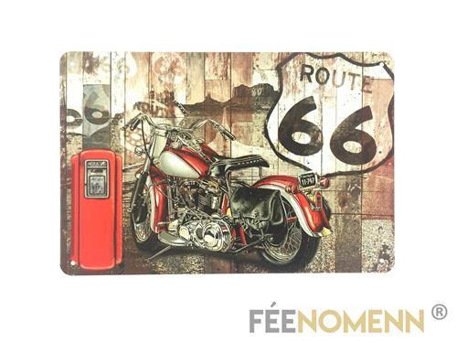 plaque métal déco vintage - moto harley - station route 66 (20x30cm)