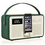 Radio numérique VQ Retro MK II Dab & Dab+ avec FM, Bluetooth, Dock Lightning Apple et réveil - Vert émeraude