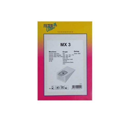 Sac mx3 papier (x5) +3 filtres pour aspirateur moulinex - 5392527