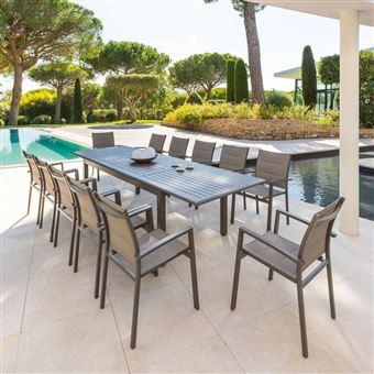Table extensible aluminium Azua 12 personnes Hespéride taupe tonka