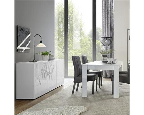Salle a manger blanc laqué avec bahut 3 portes ANTONIO - Blanc - L 180 x P 90 x H 79 cm