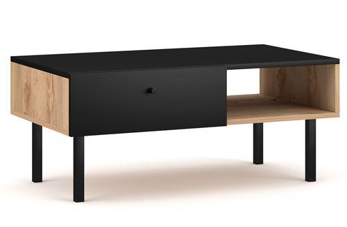 Table basse avec rangements en bois coloris chêne artisan / noir mat - L.90 x P.52 x H.38 cm -PEGANE-