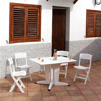 Azur : Table De Jardin Pliante En Résine Polypropylène Blanc