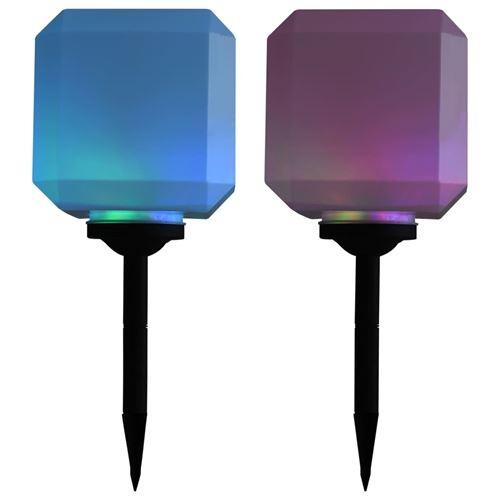 Lampe solaire cubique à LED d'extérieur 2 pcs 20 cm RVB