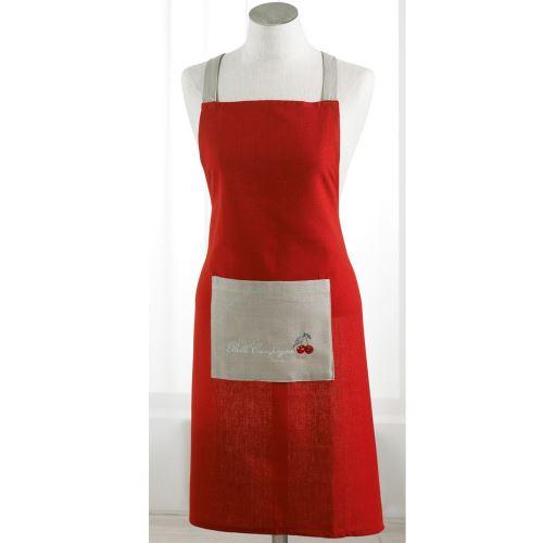 Tablier +poche 60 x 84 cm coton brode cerisettes Rouge