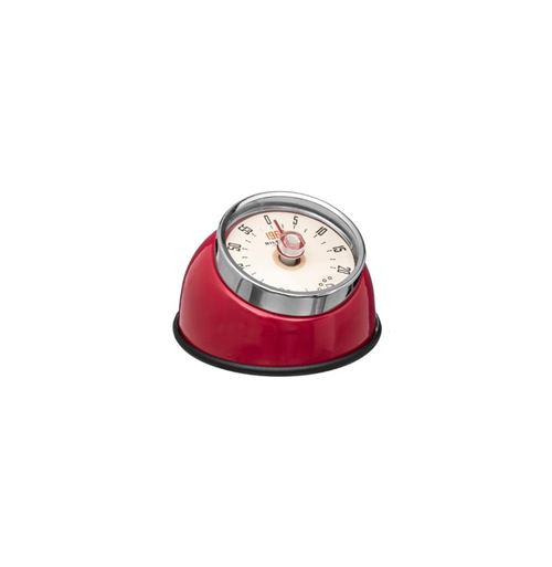 Minuteur retro magnétique - 8 x 5,5 cm - Inox - Rouge