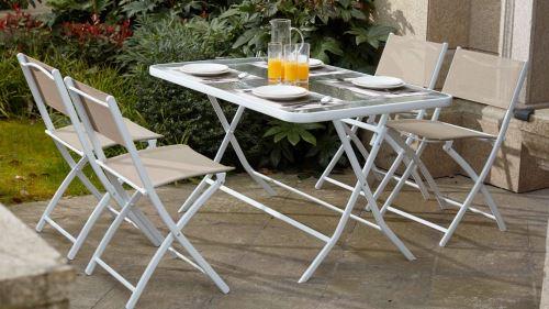 En Verre Jardin 4 Pliantes Acier Et Table De Beige Chaises ...