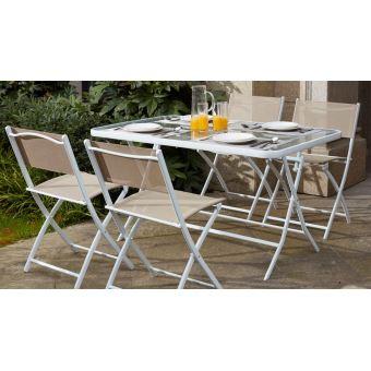 Table de jardin et 4 chaises pliantes en acier et verre - Beige ...
