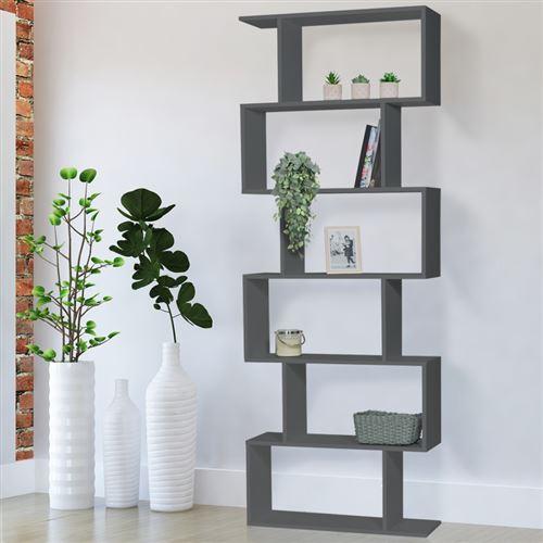Etagère bibliothèque SOFIA forme S bois gris 189 cm