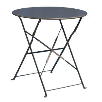 table de jardin ronde coloris grise dim d60 x 71 cm pegane mobilier de jardin achat prix fnac - Table De Jardin Ronde