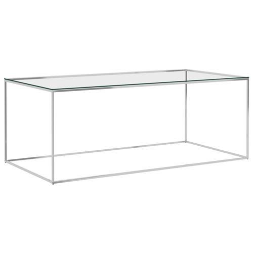Table basse Acier inoxydable et verre 120x60x45cm Argenté
