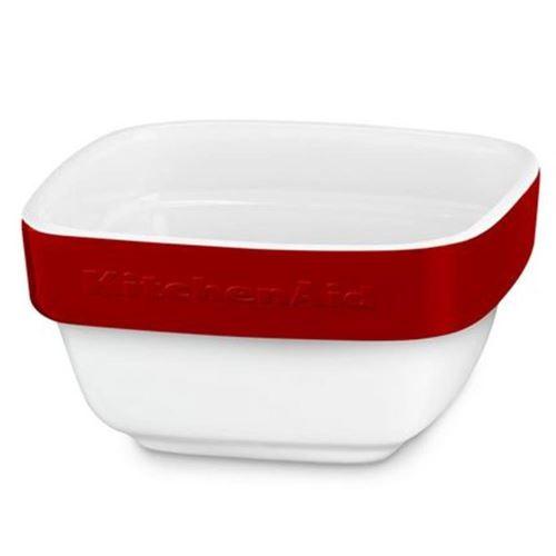 KitchenAid KBLR04RMER Plat à gratin en céramique, 10 x 10 x 5 cm, blanc/rouge