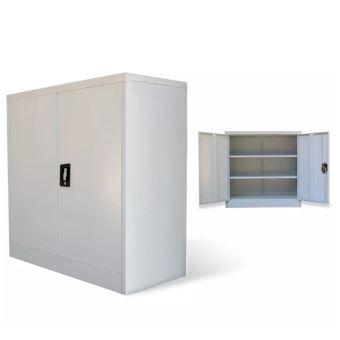 Armoire De Bureau 2 Portes 90 Cm En Métal Gris